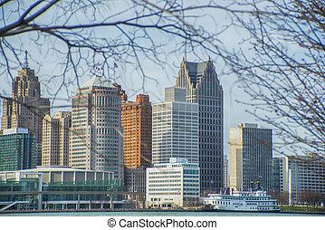 看法, ......的, 市區, 底特律, 由于, 辦公樓, 忽略, the, 財政地區