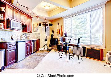 看法, ......的, 廚房, 在, musician's, 家