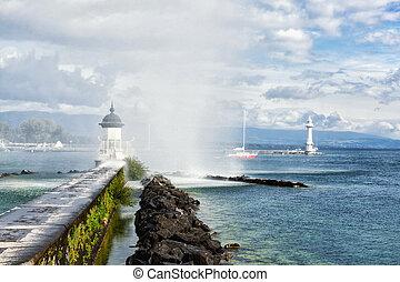 看法, ......的, 湖日內瓦, 噴气式飛机 d'eau, 泉水, 以及, 燈塔, 日內瓦, 瑞士