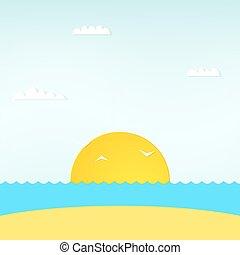 看法, ......的, 美麗, 傍晚, 上面, the, 海