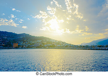 看法, ......的, alanya, 半島, 在, 日落