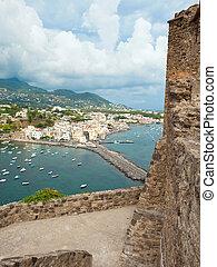 看法, ......的, ischia, ponte, 從, aragonese, 城堡