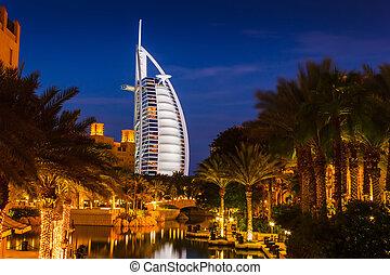 看法, ......的, the, 旅館, burj al 阿拉伯人, 從, souk, madinat, jumeirah