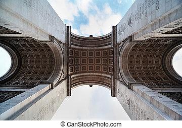 看法, ......的, the, 胜利的拱, 從, 下面, 在, 巴黎, 法國, 灰泥