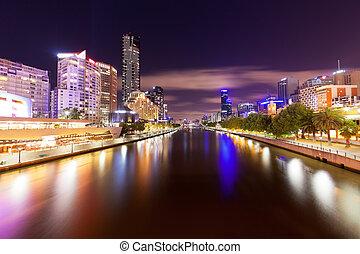 看法, ......的, yarra 河, 在, 墨爾本, 夜間