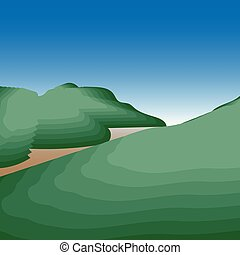 看法, 美麗, 草地, 山道路, 河