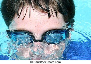 看見, 游泳者, 在下面