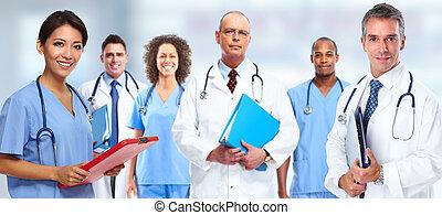 看護婦, グループ, 医者