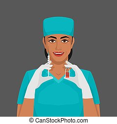 看護婦, スポイト, ガラスびん
