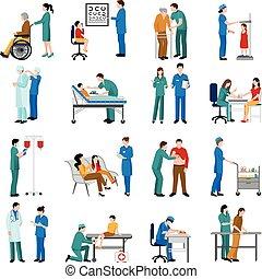 看護婦, セット, アイコン