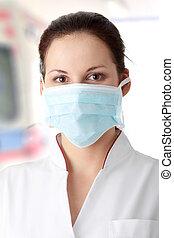 看護婦, マスク, 若い