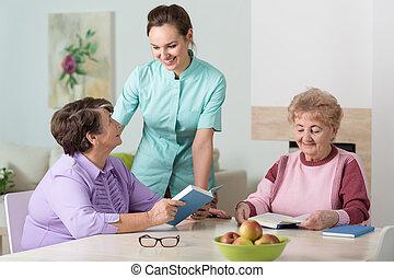 看護婦, 仕事, 中に, 住宅の, 家