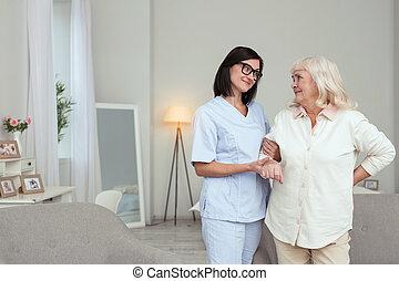 看護婦, 促される, 女, 年長者, 給仕