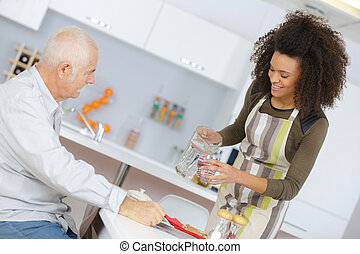 看護婦, 助力, 年長 人, 食事
