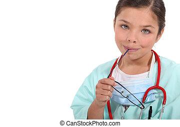 看護婦, 服を着せられる, 女の子, 肖像画