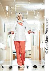 看護婦, 病院, 医療補助員, 若い, 点滴器
