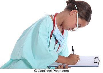 看護婦, 肖像画, 女の子, ユニフォーム