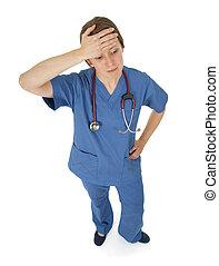 看護婦, 若い, 疲れた