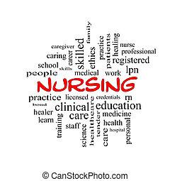 看護, 単語, 雲, 概念, 中に, 赤, 帽子