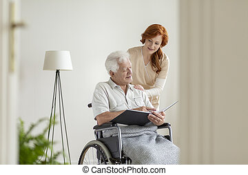 看護, 車椅子, 家, 看護婦, 人, お元気で