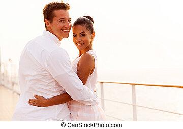 看, 夫婦, 背, newlywed, 巡航