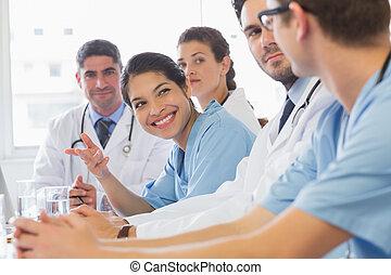 看, 微笑, 護士, 同事