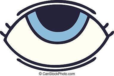 看, 漂亮, 眼睛, 卡通, 向上