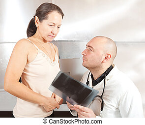 看, 病人, X光, 醫生