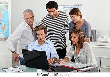 看, 笔记本电脑, 受训人员