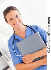 看, 護士, 照像機, 微笑