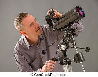 看, 透過, 望遠鏡, 人