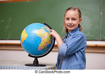 看, schoolgirl, 全球, 微笑