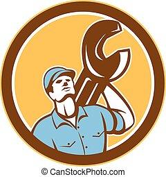 , 看, wrench, 技工, 扳手, retro