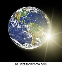 真正, 地球, 行星, 在中, 黄色的太阳