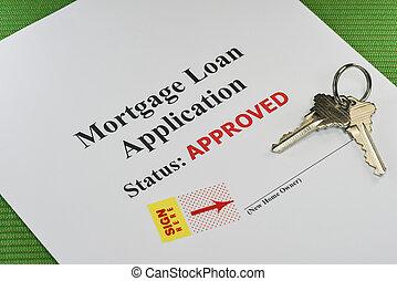 真正, 抵押, 財產, 貸款, 簽名, 准備好, 文件, 批准