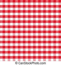 真正, 方格花布, 第一流, 模式, seamless, 桌布, 红