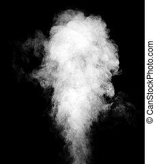 真正, 白色, 蒸汽, 上, 黑色, 背景。