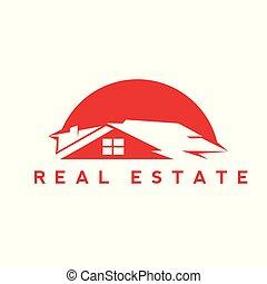 真正, illustration., 财产, 房子, 矢量, 红