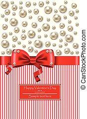 真珠, イラスト, バレンタイン, 現実的, ベクトル, 日, カード