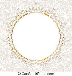 真珠, フレーム, 白, レース, 背景