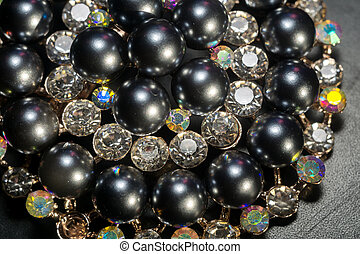 真珠, ラウンド, 黒, ブローチ