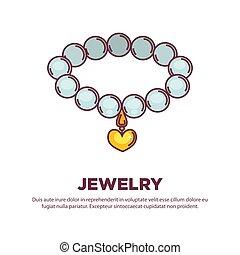 真珠, 宝石類, ベクトル, 心, ネックレス, 金, 平ら, アイコン, ペンダント