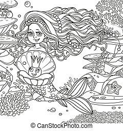 真珠, 水中, 魚, 世界, 女の子, 保有物, 珊瑚, かわいい, 背景, mermaid, アネモネ, ヒトデ, 概説された, 美しい, 殻