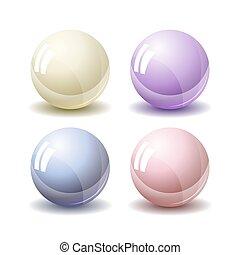真珠, 白, 隔離された, 背景