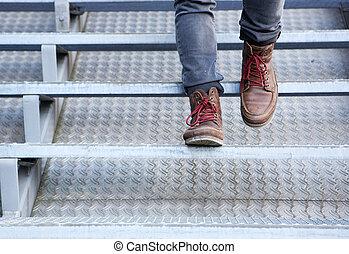真皮, 走, 楼下, 鞋子, 人
