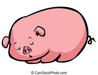 眠い, 豚