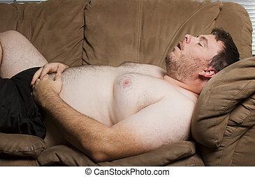 眠ったままで, 太った男