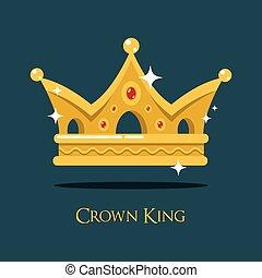 眨眼, 晴朗, 國王, 金的王冠, 或者, crest.