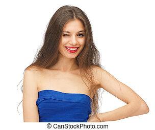 眨眼, 美麗的婦女, 由于, 長的頭髮麤毛交織物