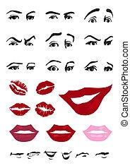 眼睛, 以及, 嘴唇, ......的, the, person., a, 矢量, 插圖